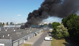 Pożar hali przy Druskienickiej